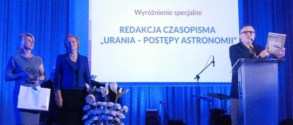 Urania nagrodzona w konkursie Popularyzator Nauki 2014
